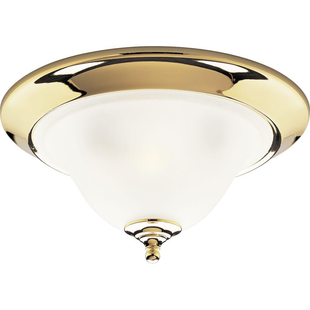 Progress Lighting Trinity Collection 3-Light Polished Brass Flush Mount-DISCONTINUED