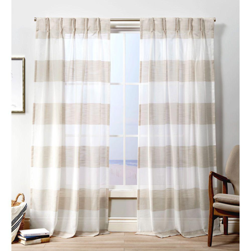 Darma PP Linen Sheer Triple Pinch Pleat Top Curtain Panel - 27 in. W x 108 in. L (2-Panel)
