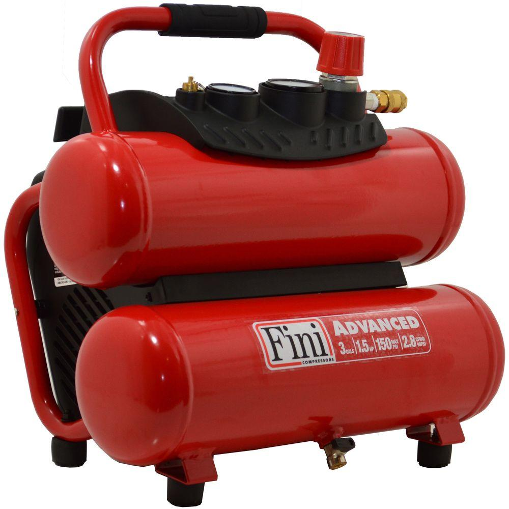 Fini 1.5 HP 3 Gal. 150 PSI Portable Electric Twin Stack Air Compressor