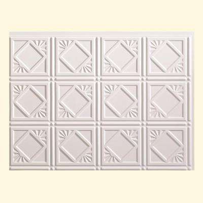 24 in. x 18 in. Traditional 4 PVC Decorative Backsplash Panel in Matte White