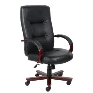 boss black leather chair with mahogany finished wood accents b8901