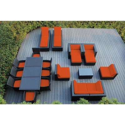 Black 20-Piece Wicker Patio Combo Conversation Set with Spuncrylic Orange Cushions