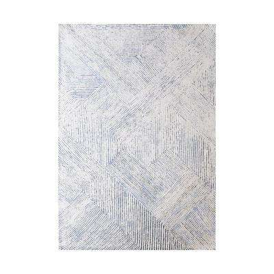 Vaugham Ivory and Blue Denim Fabric 8 ft. x 10 ft. Indoor Area Rug