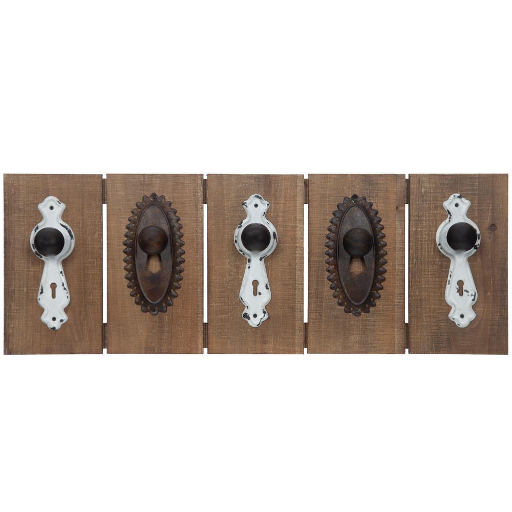 Antique Natural Brown Knob Coat Rack