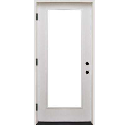 36 in. x 80 in. Premium Full Lite Primed White Fiberglass Prehung Front Door
