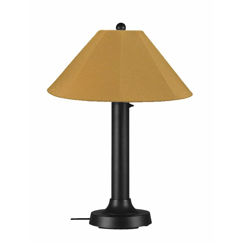 Patio Living Concepts Catalina 34 in. Black Outdoor Table Lamp with Brass Shade