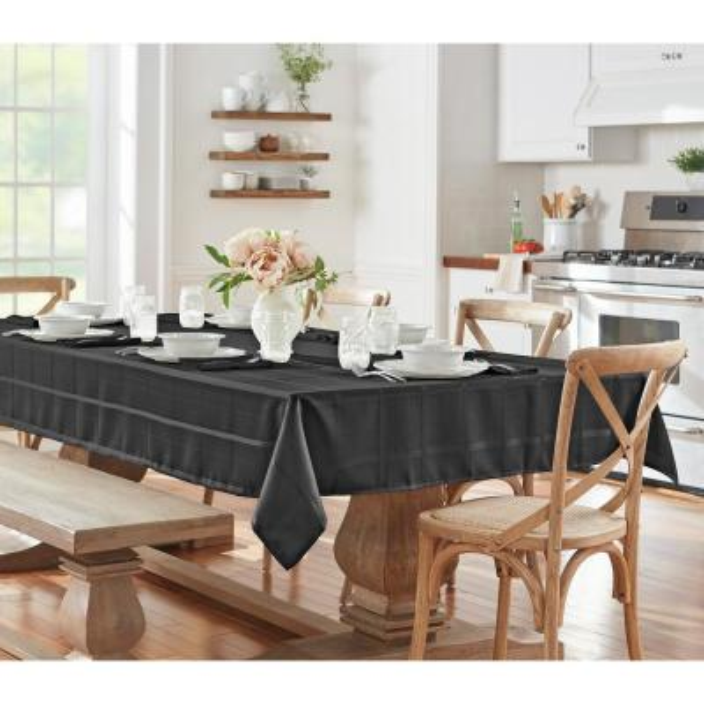 60 in. W x 84 in. L Oblong Black Elrene Elegance Plaid Damask Fabric Tablecloth