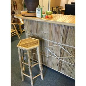 Mgp 46 In H Bamboo Bar Stool With Back Support And Arm Rest Set