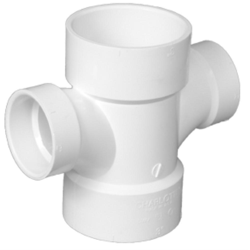 3 in. x 3 in. x 1-1/2 in. x 1-1/2 in. PVC DWV Double Sanitary Tee Reducing