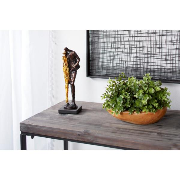 Tall Metallic Bronze and Gold Human Figurines Embracing Sculpture on Black Base