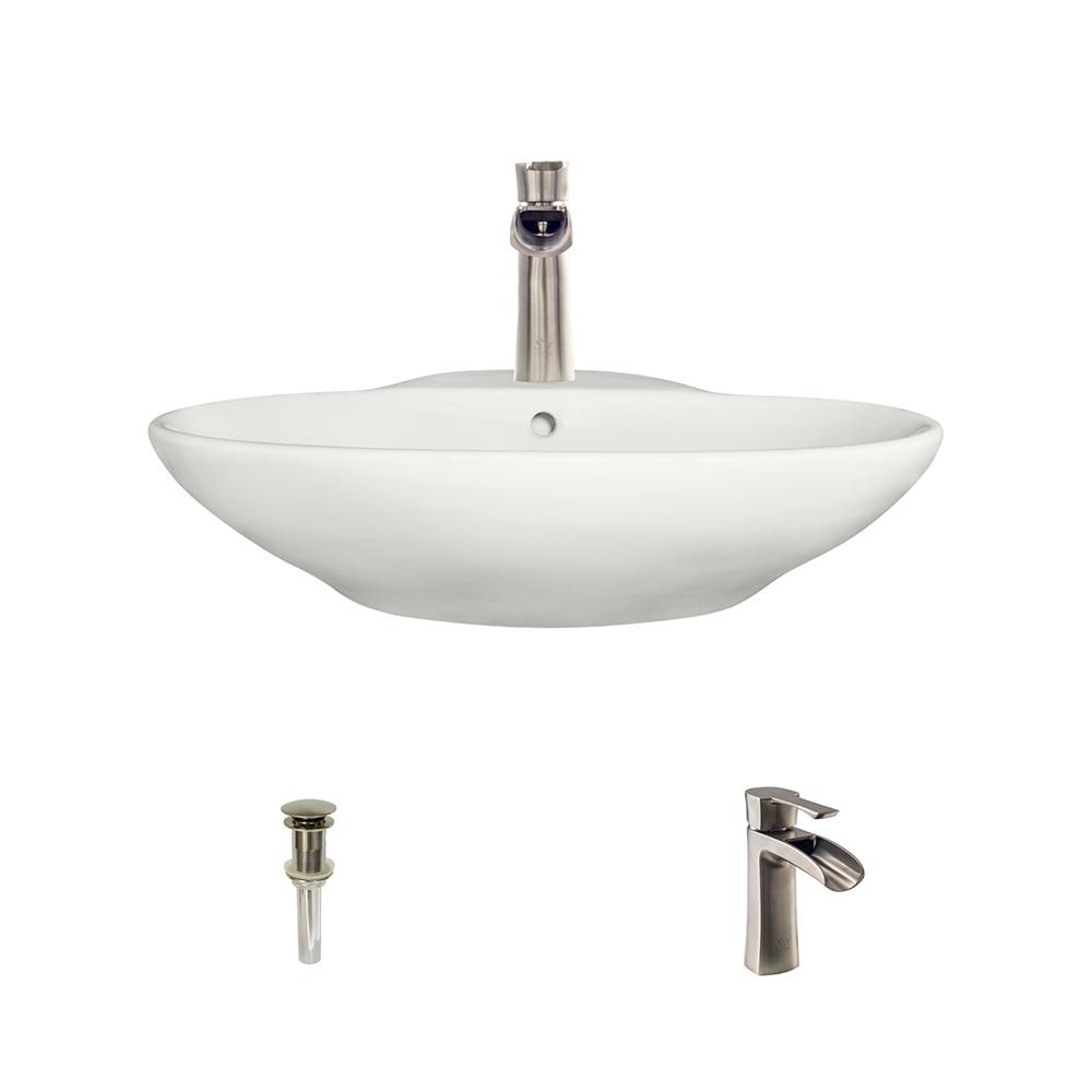 Mr direct porcelain vessel sink in bisque with 732 faucet for How to install vessel sink