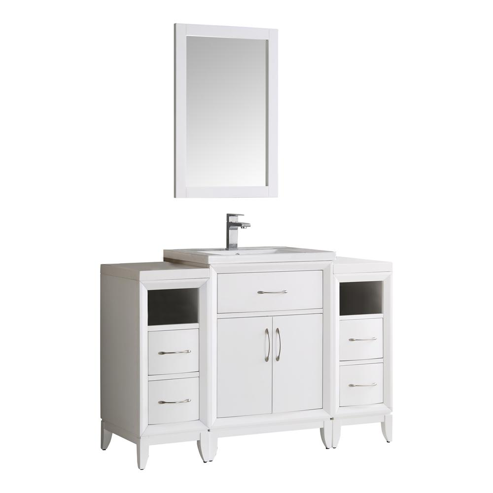 Fresca Cambridge 48 in. Vanity in White with Porcelain Vanity Top in White with White Ceramic Basin and Mirror