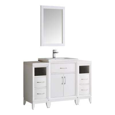 Cambridge 48 in. Vanity in White with Porcelain Vanity Top in White with White Ceramic Basin and Mirror