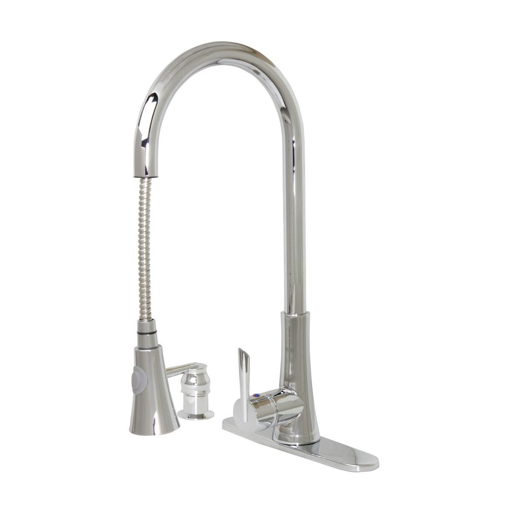 Celtic 18 in. Single-Handle Pull-Down Sprayer Kitchen Faucet in Brushed Nickel