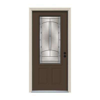 36 in. x 80 in. 3/4 Lite Idlewild Dark Chocolate Painted Steel Prehung Left-Hand Inswing Front Door w/Brickmould