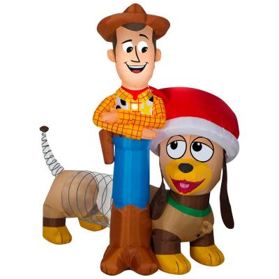 5.6 ft. Pre-lit Inflatable Airblown Woody and Slinky Scene