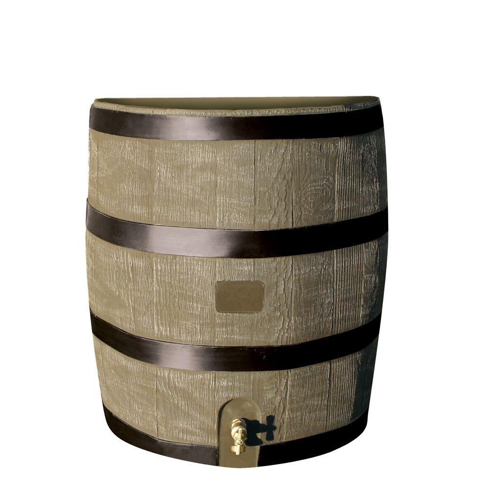 RTS Home Accents 35 Gal. Round Rain Barrel with Deco Planter