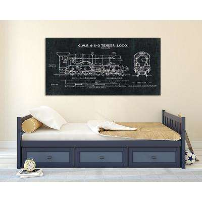 "36 in. x 72 in. ""Train Blueprint III Black"" by Wild Apple Portfolio Printed Framed Canvas Wall Art"