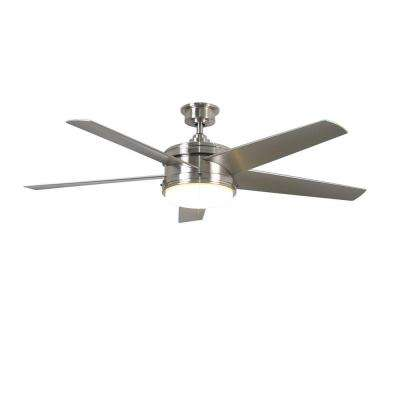 Portwood 60 in. Integrated LED Indoor/Outdoor Brushed Nickel Ceiling Fan with Light Kit