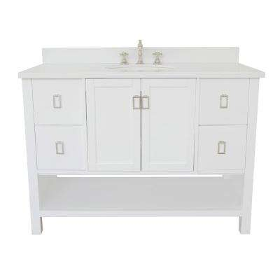 Monterey 49 in. W x 22 in. D Bath Vanity in White with Quartz Vanity Top in White with White Oval Basin