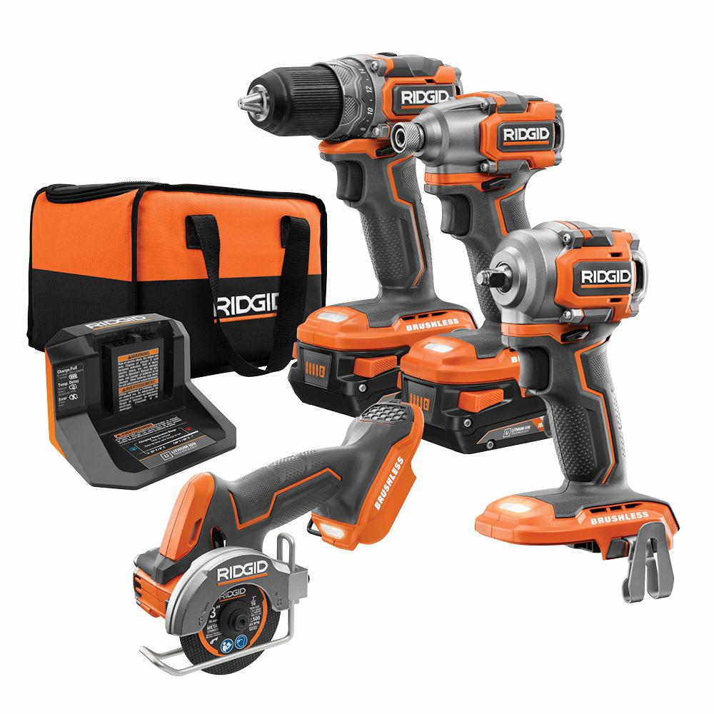 RIDGID 18-Volt SubCompact Lithium-Ion Brushless 2-Tool Combo Kit with 3/8 in. Impact Wrench amd 3 in. Multi-Material Saw was $673.0 now $409.0 (39.0% off)