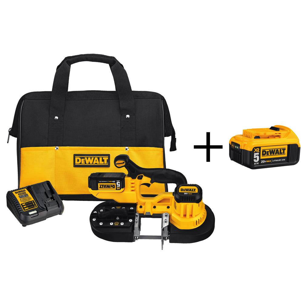 DEWALT 20-Volt MAX Lithium-Ion Cordless Band Saw Kit with Bonus 6.0 Ahr Battery Pack