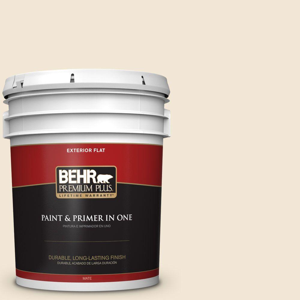 BEHR Premium Plus 5-gal. #W-B-220 Vanilla Delight Flat Exterior Paint