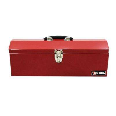 19.1 in. W x 6.1 in. D x 6.5 in. H Portable Steel Tool Box, Red