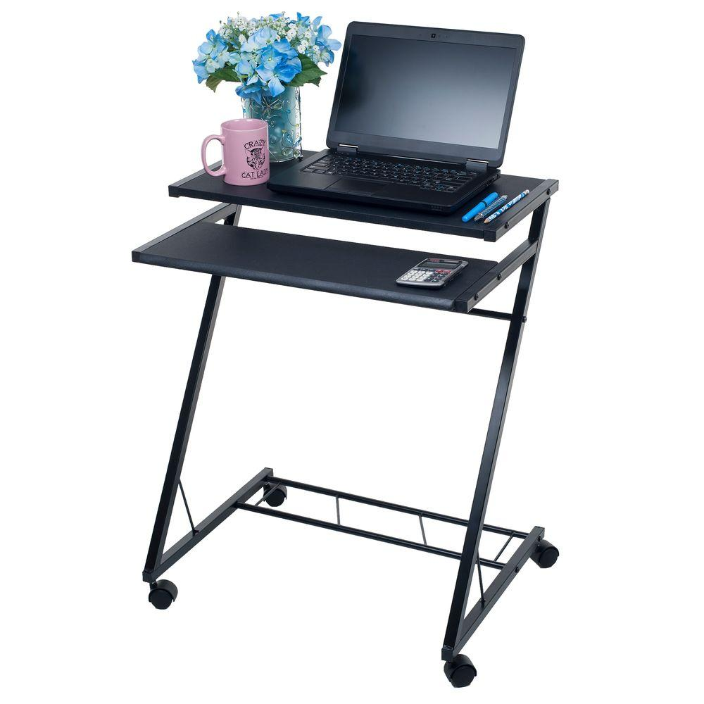 lavish home black laptop desk with wheels 80 ct10080 the home depot
