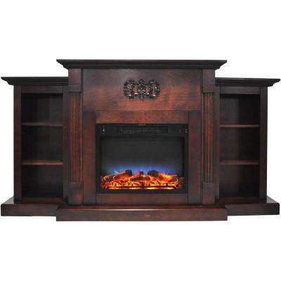 Classic 72 in. Electric Fireplace in Mahogany with Built-in Bookshelves and a Multi-Color LED Flame Display