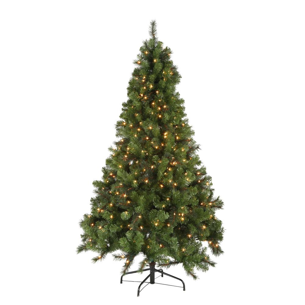 Home Accents Holiday 7 ft. Noble Fir Quick-Set Artificial Christmas ...