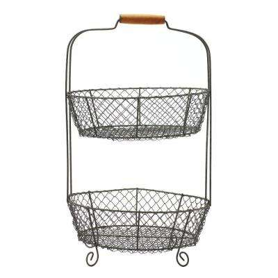 21 in. 2-Tier Wire Basket