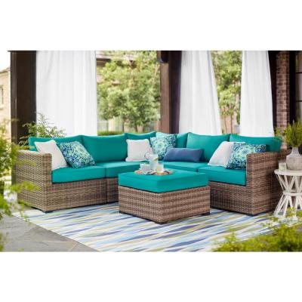 Muirwood Aluminum Outdoor Patio Ottoman with Sunbrella Blue Cushions