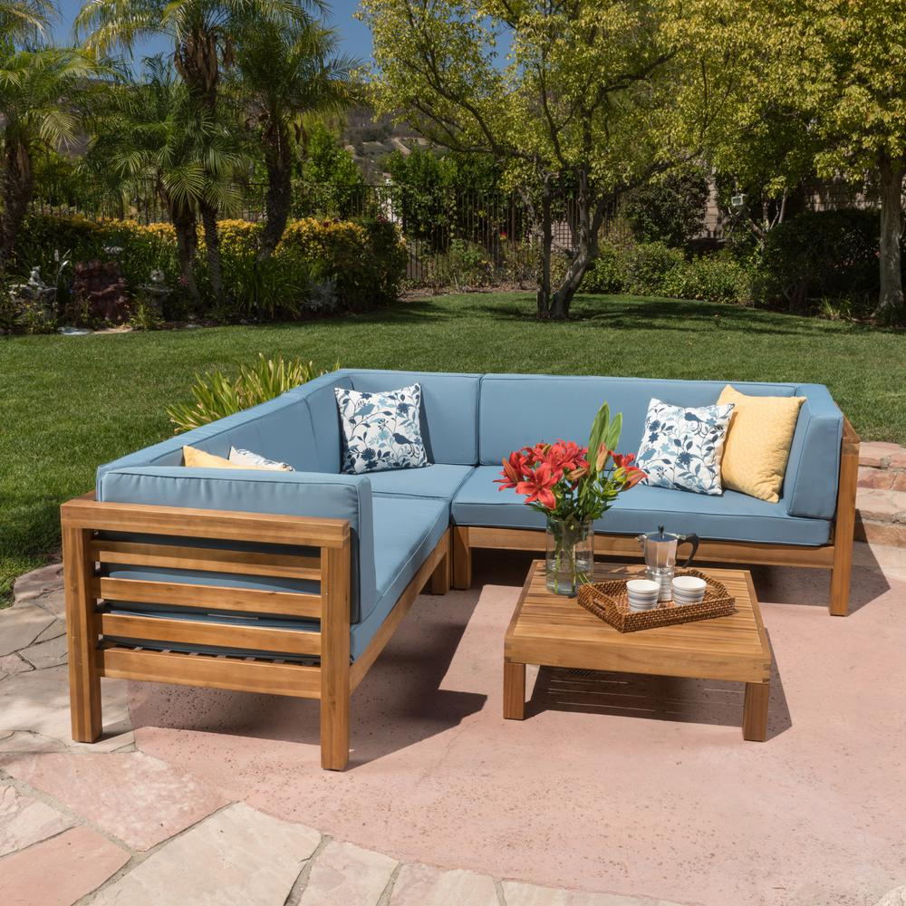 Noble House Oana Teak Finish 4-Piece Wood Outdoor Sectional Set with Blue  Cushions