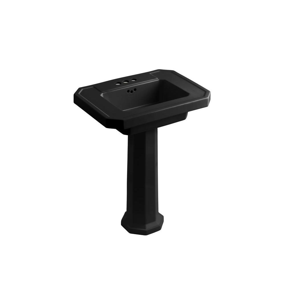 KOHLER Kathryn Ceramic Pedestal Combo Bathroom Sink in Black Black with Overflow Drain