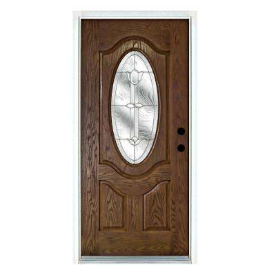 36 in. x 80 in. Flores Medium Oak Left-Hand Inswing 3/4 Oval Lite Decorative Fiberglass Prehung Front Door