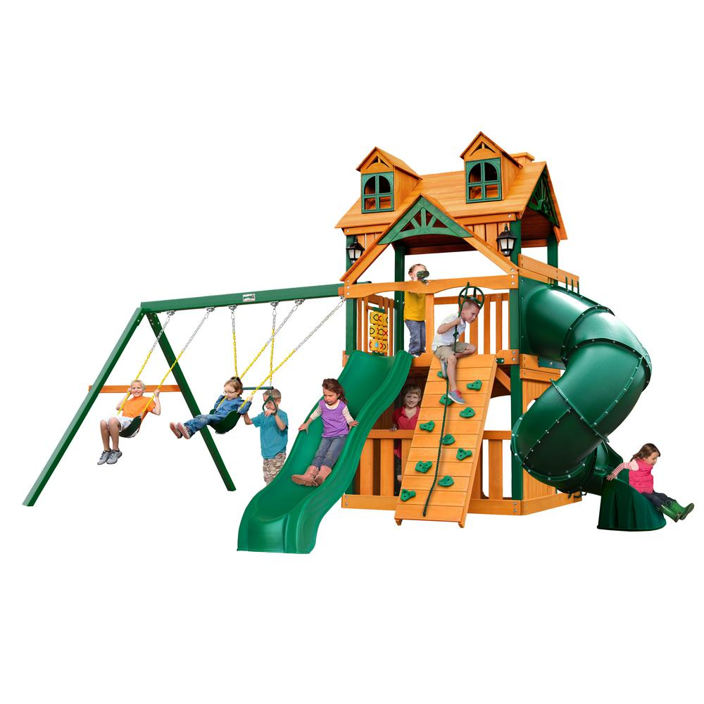 Gorilla Playsets Malibu Extreme Clubhouse Cedar Swing Set with ...