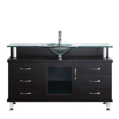 Vincente 56 in. W Bath Vanity in Espresso with Glass Vanity Top in Clear Mint Green with Round Basin