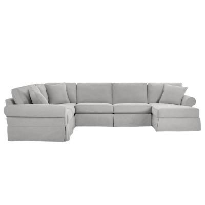 Hillbrook Essence Sky Polyester 6-Seater U-Shaped Left-Facing Sectional Sofa with Removable Cushions