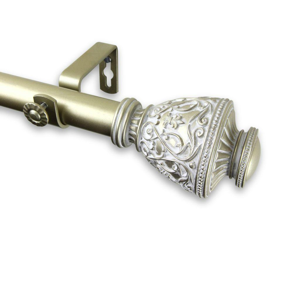 Rod Desyne 66 in. - 120 in. Telescoping 1 in. Single Curtain Rod Kit in Light Gold with Veda Finial