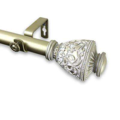 66 in. - 120 in. Telescoping 1 in. Single Curtain Rod Kit in Light Gold with Veda Finial