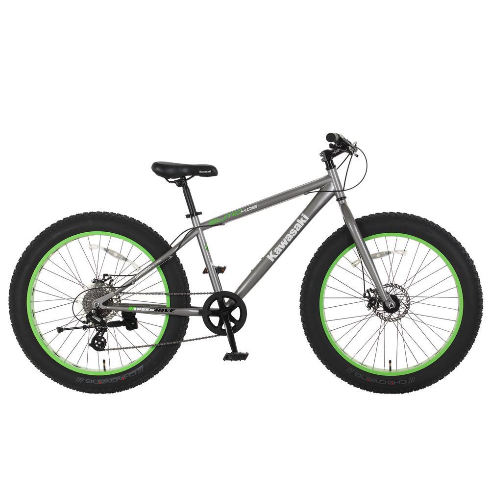 Kawasaki 26 in. x 4 in. Wheels Gray/Green Sumo Fat Tire Bike-KA02A ...