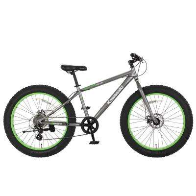 26 in. x 4 in. Wheels Gray/Green Sumo Fat Tire Bike