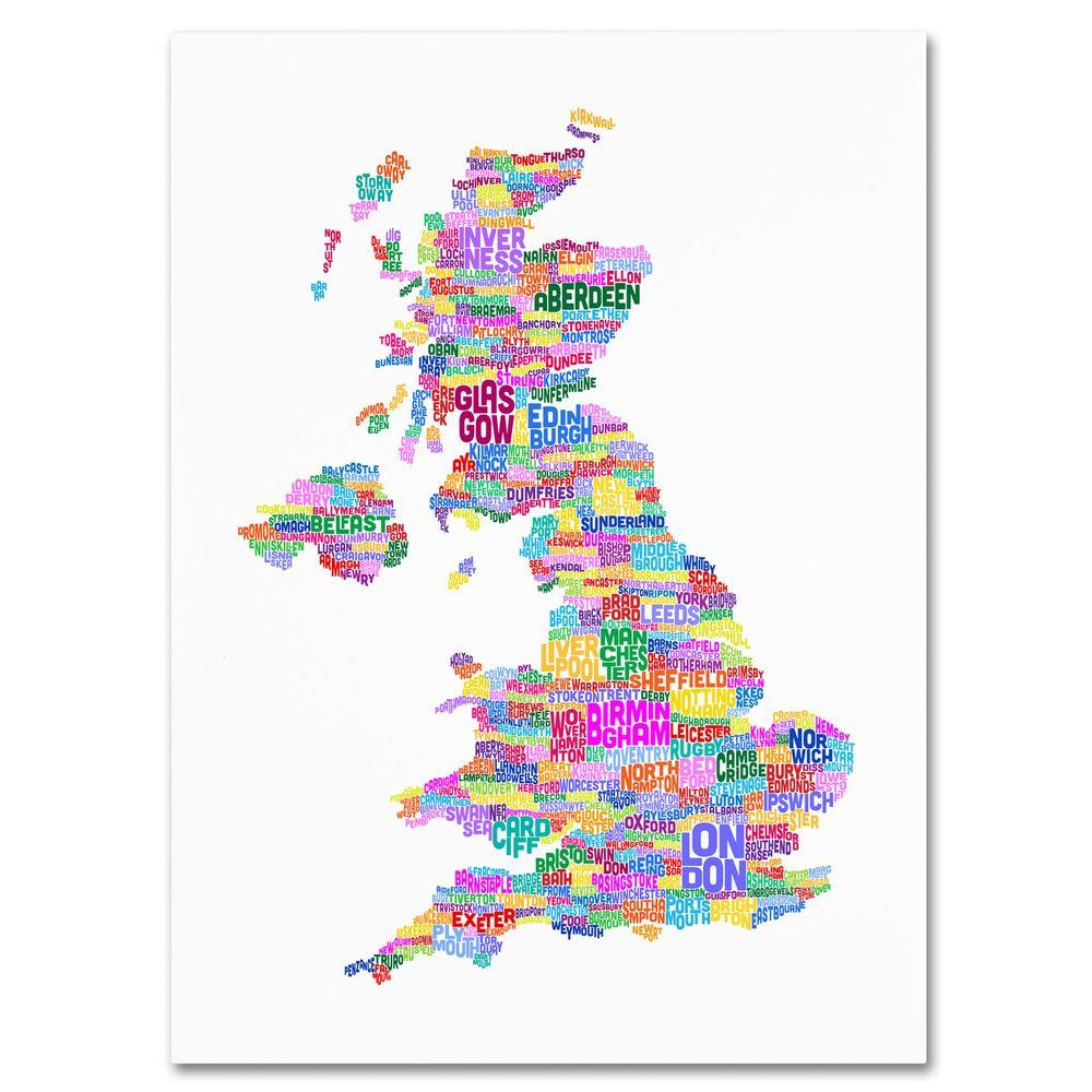 Map Of The Uk Cities.Trademark Fine Art 14 In X 19 In Uk Cities Text Map 3 Canvas Art