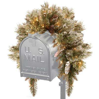 36 in. Glittery Bristle Pine Mailbox Swag with Battery Operated Warm White LED Lights