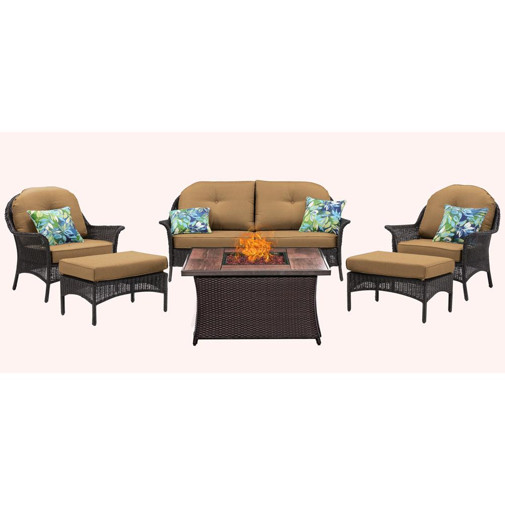 Hanover San Marino 6-Piece Metal Patio Seating Set with Wood Grain-Top Fire Pit with Crimson Red Cushions