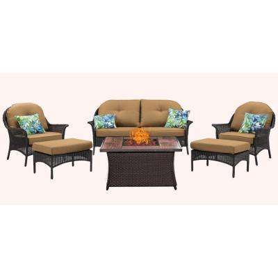 San Marino 6-Piece Woven Patio Seating Set with Wood Grain-Top Fire Pit with Country Cork Cushions