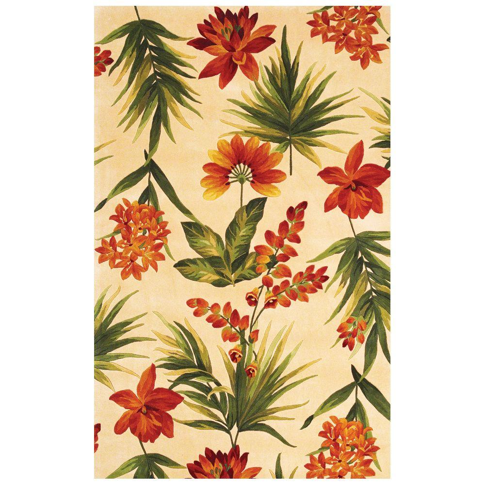 Kas Rugs Traditional Tropics Ivory 3 ft. 3 in. x 5 ft. 3 in. Area Rug