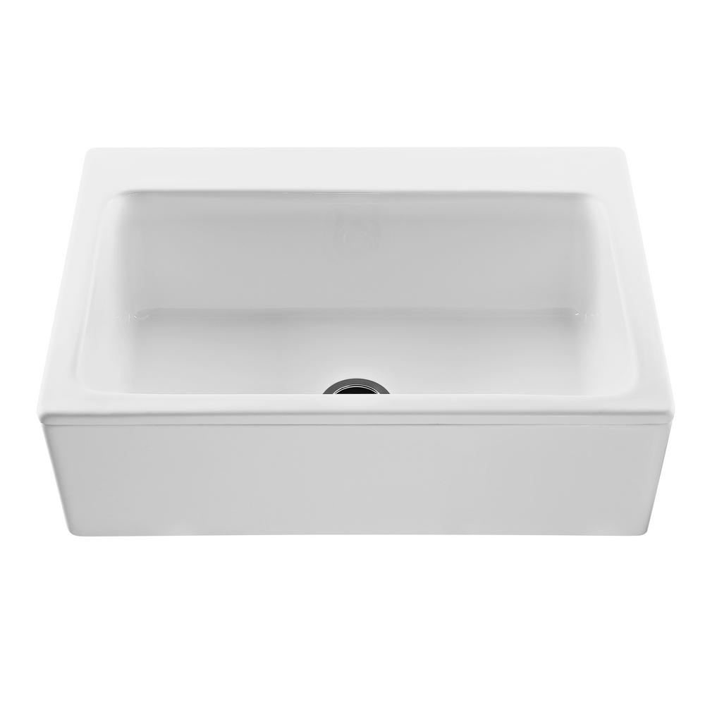 Reliance Mccoy Farmhouse Apron Front Cross Link Acrylic 33 In Single Bowl Kitchen Sink In White