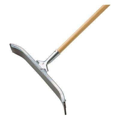Industrial Curved Floor Squeegee with Scraper Edge Galvanized Steel with 24 in. Handle